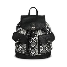 Women's Backpack Handbag with Mixed Tribal Pattern - Black (160 BRL) ❤ liked on Polyvore featuring bags, backpacks, black, black knapsack, vegan leather backpack, tribal pattern backpack, fake leather backpack and vegan backpack