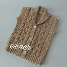 Most Beautiful Baby Vest Cardigan Booties Beanie Scarf Knit Models - örgü - Baby Cardigan, Baby Boy Sweater, Knit Cardigan Pattern, Knit Baby Sweaters, Baby Pullover, Rib Stitch Knitting, Sweater Knitting Patterns, Lace Knitting, Knitting Designs