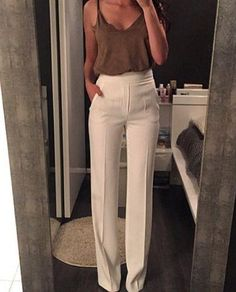 Marie, I like these business pants, long and straight and high waisted...don't mind it in black, cream, dark brown, and dark gray
