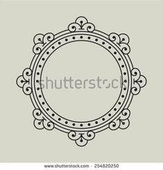 Folk art geometric frame. - stock vector