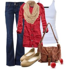 Fall casual outfit with red sweater