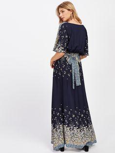 SHEINPlunging V-Neckline Tie Waist Maxi Dress