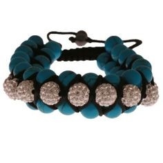 Stunning Turquoise Blue and White With Crystal Triple Row Shamballa Disco Ball Bracelet! Kaylah Designs. $18.00. There is gift wrapping options available for this product. This bracelet is adjustable. This product is available in other styles and colors as well
