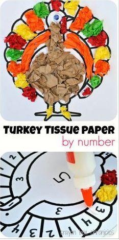 Turkey tissue paper by number!