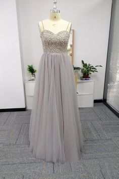 Silver Spaghetti Straps Beaded Bodice Tulle A Line Prom Dresses This dress can be made with custom sizes and color. So cheap and so charming. Gorgeous Prom Dresses, A Line Prom Dresses, Junior Dresses, Homecoming Dresses, Discount Prom Dresses, Stretch Satin, Formal Gowns, Ball Gowns, Bodice
