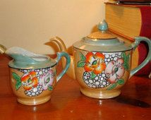 Occupied Japan-made Hand-Painted Lustreware TEA POT & CREAMER - Beautiful - Treasury Item