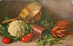 cauliflower, peas, carrots, kale & tomatoes, copper pot & steamer