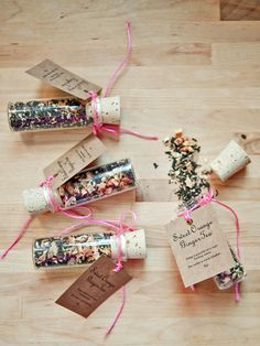 Package the tea in a cork-topped vial with a neon ribbon and a custom favor tag that features the ingredients and brewing instructions.