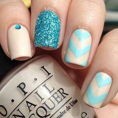 Nude and blue glitter nailart #nailart @JenniferW