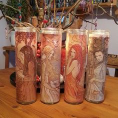 Home made Elemental candle jars witch craft inspiration