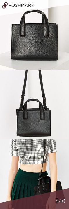 UO Mini Tote Bag Urban Outfitters Cooperative mini tote bag in black leather. Very lightly used. Long straps that can be used to make it an over the shoulder or cross body bag. Urban Outfitters Bags Shoulder Bags
