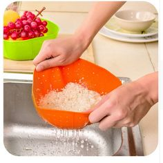 Multifunction Silicone kitchen drain basket steamer, rice washing vegetables and fruit baskets microwave dish cover