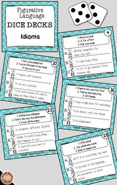 Looking for ideas to increase engagement with your students? DICE DECKS interactive task cards teach specific skills while keeping their attention! Great for individual, small group (speech therapy, RTI, etc.), or even whole-class learning. Click to view this Idioms Figurative Language set!