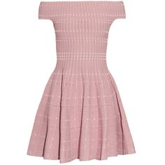 Alexander McQueen Off-the-shoulder knitted mini dress ($1,278) ❤ liked on Polyvore featuring dresses, pink, pink mini dress, rose pink dress, pink tweed dress, mini dress and short cream dress