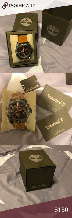 "Timberland Men's Bellamy Chronograph Watch Stainless steel case, Leather bracelet Closure. Case Size: 46mm. Case Thickness: 9mm. Watch length: 10"". Band Width: 23mm. Movement: Quartz. Water Resistance: Box included. Timberland Accessories Watches"