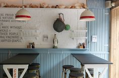 LocAtion specific, minuses decor on ledge The Fish Shop Potts Point Sibella Court. Love the red stripe on the pendants! Restaurant Concept, Cafe Restaurant, Restaurant Design, Cafe Shop, Cafe Bar, Seaside Cafe, Fish And Chip Shop, Cabinet Of Curiosities, Shops