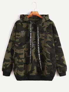 Camo Letter Print Hooded Drop Shoulder Pockets Sweatshirt — 0.00 € color: Green size: one-size