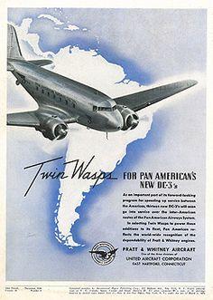 Marketing de la época del DC-3...con la aerolínea Pan American.