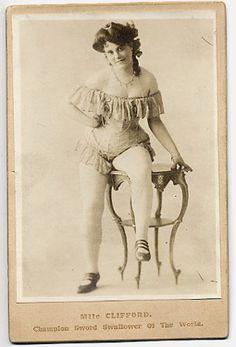 ca. 1890, Miss Edith Clifford, sword swallower    via