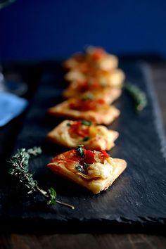 Caramelized Onion, Pear, Roasted Garlic, Aged Cheddar & Prosciutto Tarts