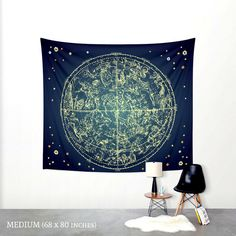 Zodiac Star Map Tapestry Wall Hanging Wall by PaperBoundLove