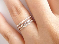 Set of 3 Stack Rings  Sterling Silver Rings   by PRECIOUSWINGSCOM, $30.00