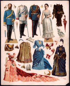 Kaiser Frederick III and his wife consort Victoria. The dolls date from the late 1880s and have the most gorgeous color. Paper dolls of German manufacture during this period were quite impressive and royal personalities were a favorite subject (they were the movie stars and the tabloid fodder of their day).