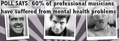 Poll says: 60% of professional musicians have suffered from mental health problems. Read more: http://bit.ly/1BEXuPa