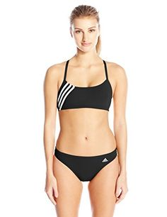 adidas Women's Solid Three Stripe Two Piece Bikini Set