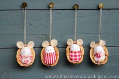 Kifli és levendula: Egérkék dióhéjban - little mice in nutshells Handmade Christmas Crafts, Christmas Art, Christmas Decorations, Christmas Ornaments, Angel Ornaments, Holiday Decor, Mouse Crafts, Diy And Crafts, Crafts For Kids