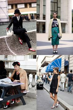 The lady in the upper left is so very cool. If You're Thinking About……. Two-Tone Shoes « The Sartorialist