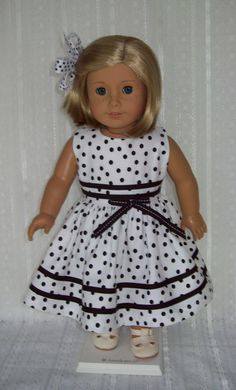American Girl Doll or 18 inch doll dress and hair clip.  White and Black polka dots with black bias trim.