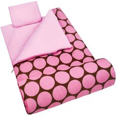 Wildkin Kids' Sleeping Bag, Big Pink Dot, Multicolor
