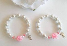 Pink Single Rose Bracelets ~ The bracelets can be prayed like a rosary. The single rose is a mystery with 10 white glass pearl prayer beads. Baby Jewelry, Kids Jewelry, Beaded Jewelry, Handmade Jewelry, Jewelry Making, Beaded Bracelets, Rosary Bracelet, Baby Bracelet, Rosary Beads