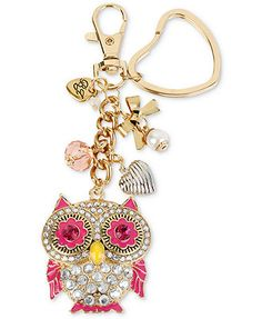 Betsey Johnson Key Chain, Gold-Tone Crystal Accent Owl Charm Key Chain