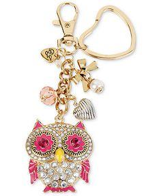 Betsey Johnson Key Chain, Gold-Tone Crystal Accent Owl Charm Key Chain
