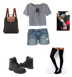 """""""Camp 2"""" by sammy-uribe on Polyvore featuring Chicnova Fashion, Current/Elliott, Longchamp, ASOS and Timberland"""