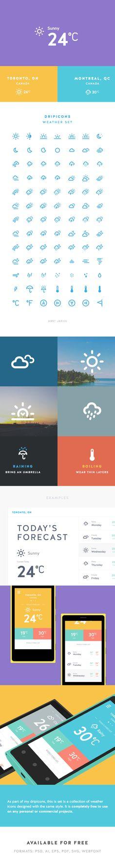 Dripicons - Weather Set (Free Iconset) by Amit Jakhu, via Behance
