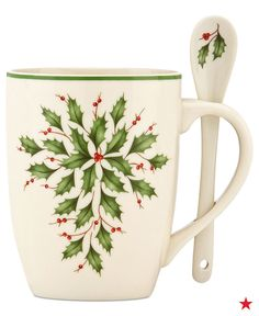 Here's a holiday idea for you: Grab some cozy throw blankets, gather around the fire with the family, and enjoy a tasty cup of hot chocolate (marshmallows optional) — Lenox exclusive holiday set of 2 cocoa mugs with spoons