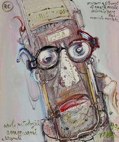 """Mattia Moreni """"Autoritratto N°18. Moreni a 69 anni di sua età, mesto, intubato pure lui accorciato mentale. RC asili patologogici americani. A Fitzgerald"""" 1990"""