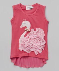 Look at this #zulilyfind! Fuchsia & Pink Swan Rosette Hi-Low Tank - Infant, Toddler & Girls #zulilyfinds