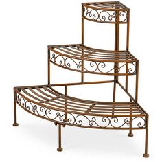 3-Tier Corner Metal Plant Rack ($90) ❤ liked on Polyvore featuring home, outdoors, outdoor decor, 3 shelf, three-shelves, three-shelf and 3 shelves