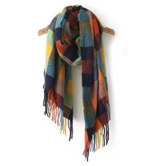 SheIn(sheinside) Multicolor Plaid Tassel Classical Scarve (100 HKD) ❤ liked on Polyvore featuring accessories, scarves, tartan shawl, tartan plaid scarves, colorful scarves, vintage shawl and plaid shawl