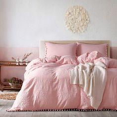 Natural Jade Pink Duvet Cover Washed Comforter Cover Comfortable Pompons Edge Design Balls Home Bedding Sets Warming Bedroom Decoration - - Comforter Cover, Duvet Bedding, Duvet Cover Sets, King Duvet, Pink Bed Covers, Queen Duvet, Queen Size Comforter Sets, Pink Bedding Set, Light Pink Comforter