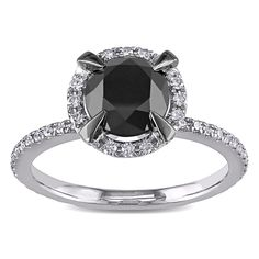 Miadora 10k White Gold 2ct TDW Black and White Diamond Halo Ring (G-H, I2-I3) with Bonus Earrings | Overstock™ Shopping - Top Rated Miadora Diamond Rings