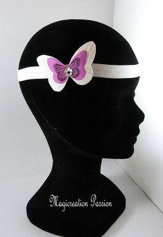 bandeau serre-tête headband élastique satin blanc papillon Etsy, White Satin, Bandeaus, Alice Band, Hat, Unique Jewelry, Fabric
