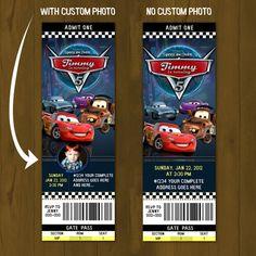 CARS 2 Lightning Mc Queen Ticket Einladung Race Car druckbare Ticket Stil Einladung Geburtstag - mit oder ohne benutzerdefinierten Foto