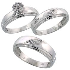 White Gold Diamond Trio Engagement Wedding Ring Set for Him and Her 7 mm & mm wide cttw Brilliant C, Women's, Size: 10 Platinum Wedding Rings, Sterling Silver Wedding Rings, White Gold Wedding Rings, Wedding Band Sets, Wedding Rings For Women, Diamond Wedding Bands, White Gold Rings, Diamond Rings, Silver Jewelry