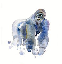 Gorilla+++A4+11.7x8.3in++Original++Watercolor++by+Coconuttowers,+$10.00