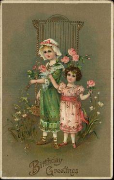 Birthday Greeting Children Flowers Gilt Gel Coat c1910 Old Postcard picclick.com